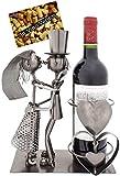 BRUBAKER Weinflaschenhalter Hochzeitspaar - Flaschenständer aus Metall mit Grußkarte für Weingeschenk
