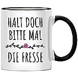Halt doch bitte mal die Fresse Tasse, Büro Kollegin Geschenk, Spruch Kaffeetasse, Chef Geschenkidee, Tassen mit Sprüchen lustig, Kollegen Abschied