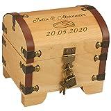 Geschenke 24 Holz-Schatztruhe Hochzeit mit Gravur - 2 Namen 1 Datum 2 Ringe - Geldgeschenk/Hochzeitsgeschenke für Brautpaar