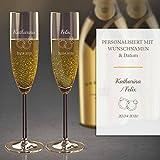 2 Sektgläser mit Gravur (Hochzeit)   Edle Sekt-Gläser mit Namen und Datum  Personalisierte individuelle Geschenkidee   Hochzeits-Geschenk - Geeignet für Champagner & Sekt