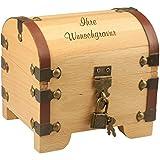 Geschenke 24 Holz-Schatztruhe mit Gravur - 3 Zeilen Wunschgravur mit je 15 Zeichen - Geldgeschenk zur Hochzeit, Geldgeschenk für Brautpaare, Geschenk zur Taufe, zum Geburtstag