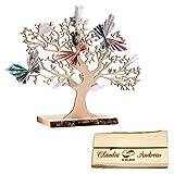 Casa Vivente Geldbaum aus Holz mit Gravur, Motiv Ringe, Personalisiert mit Namen und Datum, Dekoration, Hochzeitsgeschenke, Höhe 29 cm