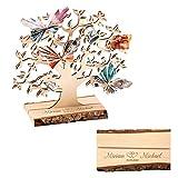 Casa Vivente Geldbaum aus Holz mit Gravur, Personalisiert mit Namen und Datum, Motiv Herzen, Geldgeschenk zur Hochzeit, Deko, Höhe 27,5 cm