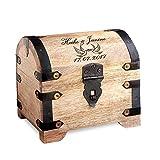 Casa Vivente Schatztruhe aus hellem Holz mit Gravur zur Hochzeit, Motiv Tauben, Personalisiert mit Namen und Datum, Verpackung für Geldgeschenke