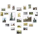 Yorbay Bilderrahmen 26er Set mit 3 häufigsten 1:1 Installationsvorlage 19 STK. 10 * 15cm, 5 STK. 13 * 18cm, 2 Stk. 20 * 30cm aus Plexiglas Foto Collage, aus Holz Fotorahmen und Bildabdeckung (Weiß)