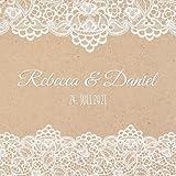 Rebecca & Daniel: Personalisiertes Gästebuch Hochzeit / Hochzeitsbuch / Eintragebuch mit Fragen, Vintage Stil mit Kraftpapier und Spitze