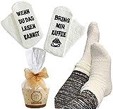Lucadeau Socken mit Kaffee Spruch auf der Sohle WENN DU DAS LESEN KANNST, BRING MIR KAFFEE Geschenk für Frauen Geburtstagsgeschenk für Freundin Schwester Mama