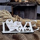 DEKO AUFSTELLER mit Herzen LOVE inkl. Personalisierung Wunschtext - Größe 20 x 8 cm | Dekolando Home Accessoires